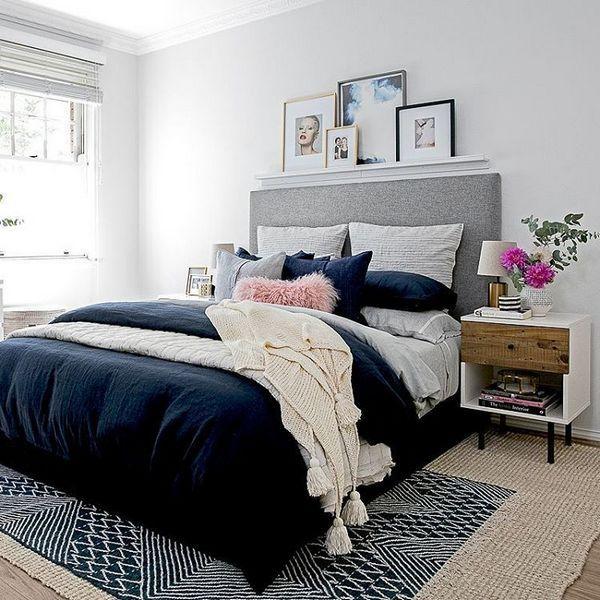 50 Mid Century Modern Bedroom Decor Ideas Inspira Spaces Modern Bedroom Decor Bedroom Interior Blue And Pink Bedroom