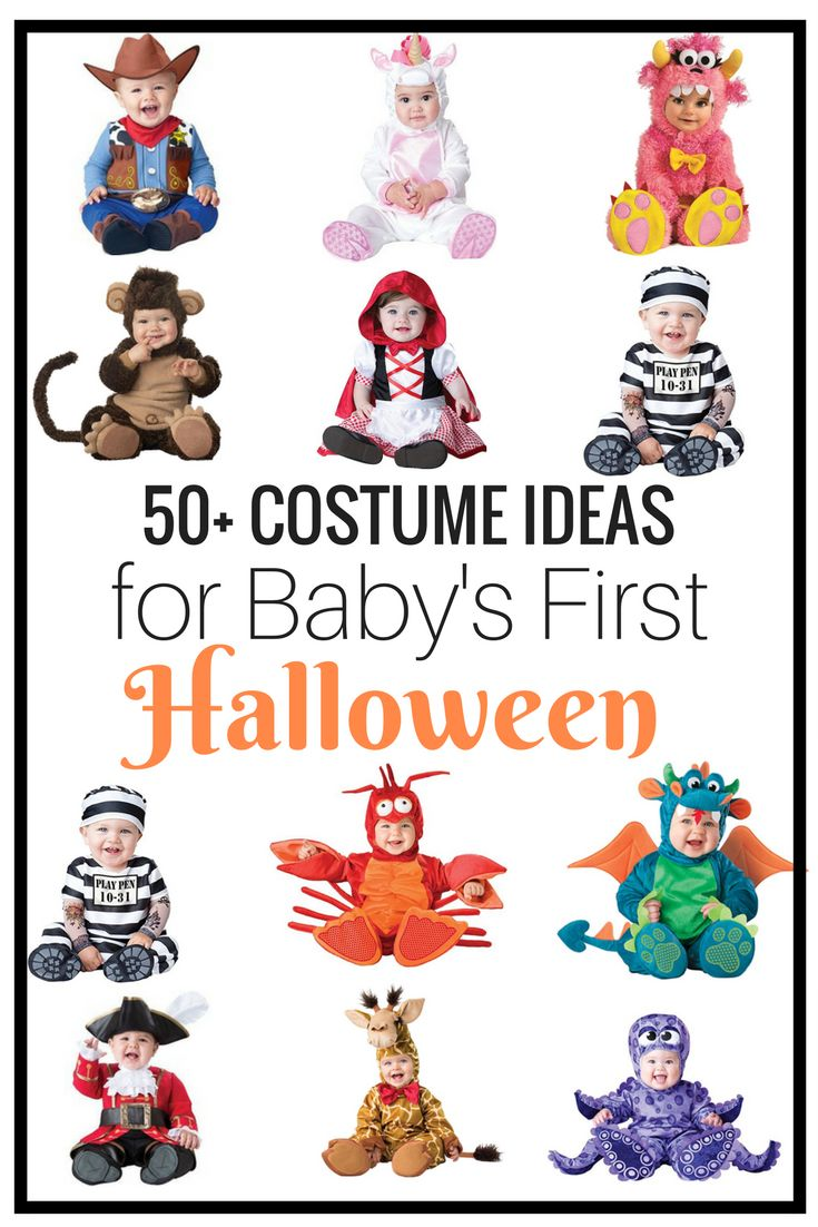 Ideas for Baby's First Halloween. Great list of inexpensive costumes for baby girl and baby boy! Pin and save!