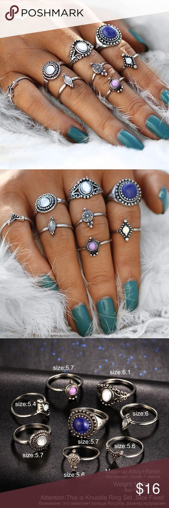Gypsy Opal Stone Rings Set ▪️Brand New Midi Knuckle Rings ▪️Set: 7 Rings  ▪️Midi Rings ▪️Dainty  Rings Set  ▪️Price is firm unless bundled.   🌷Happy Poshing! Jewelry Rings