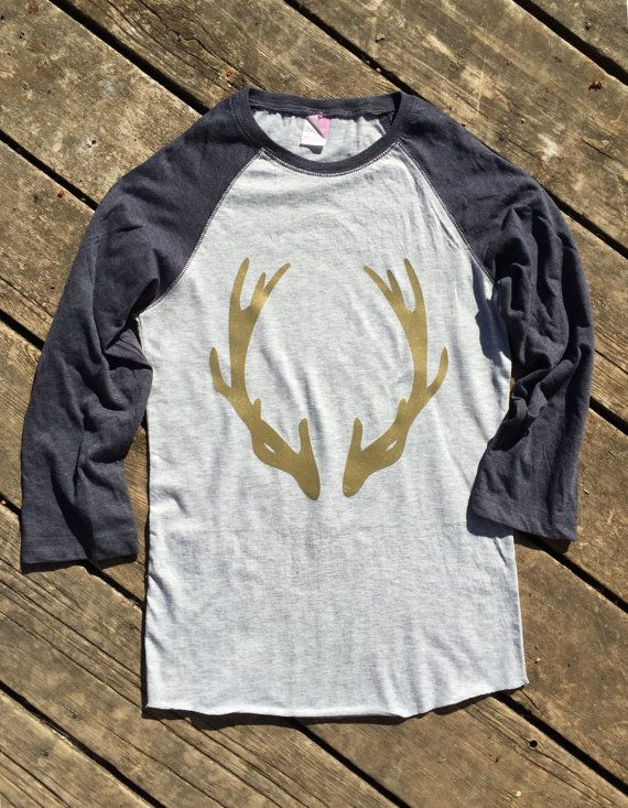 Deer Antlers Glitter Baseball T-Shirt 3/4 Sleeve, Raglan Women's Country Apparel T-Shirt Southern Clothing, Country Music Sayings Shirt