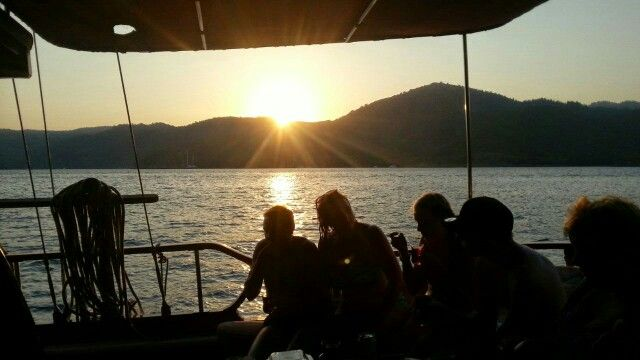 Relaxing, enjoying the sunset on the gulet Gunay 1 - Sailing Gocek Turkey