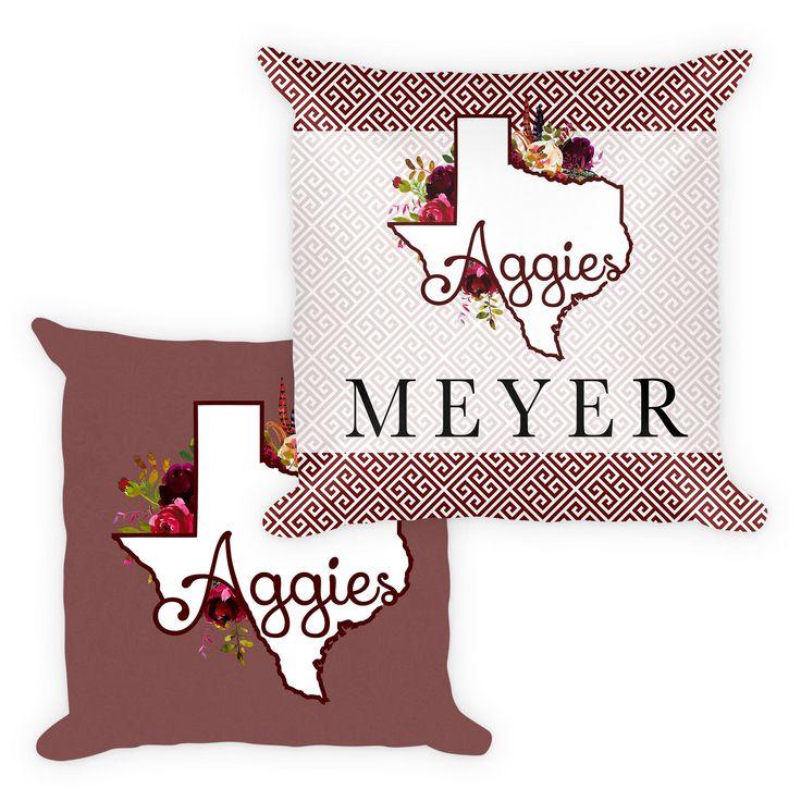 Custom College Pillow Cover. Custom Football Pillow. Graduation Gift. Texas A&M Pillow. LSU Pillow. Custom Graduation Pillow. Gift Giving by MeyerMarketDesigns on Etsy