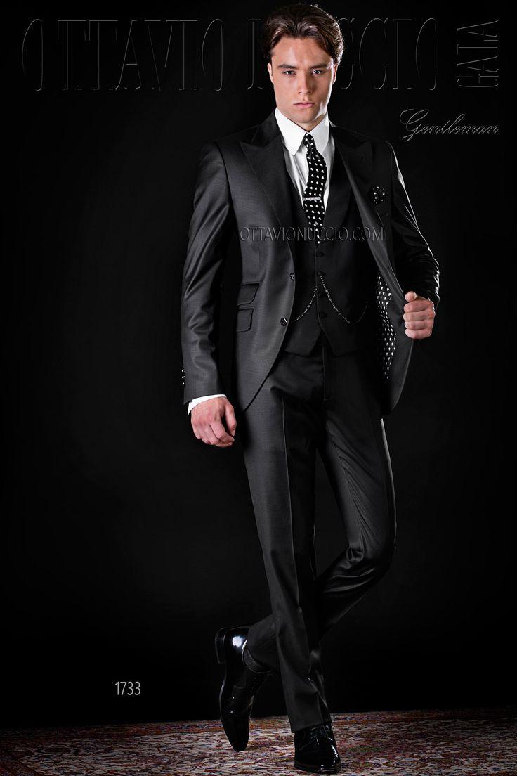 Black peak lapel Italian luxury business suit  #wedding #groom #tuxedo #formalwear #luxury #menswear #skulls #fashion