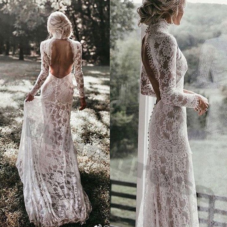 High Neck Wedding Dresses Beach Mermaid Long Sleeves Bridal Gown Sexy Backless #…