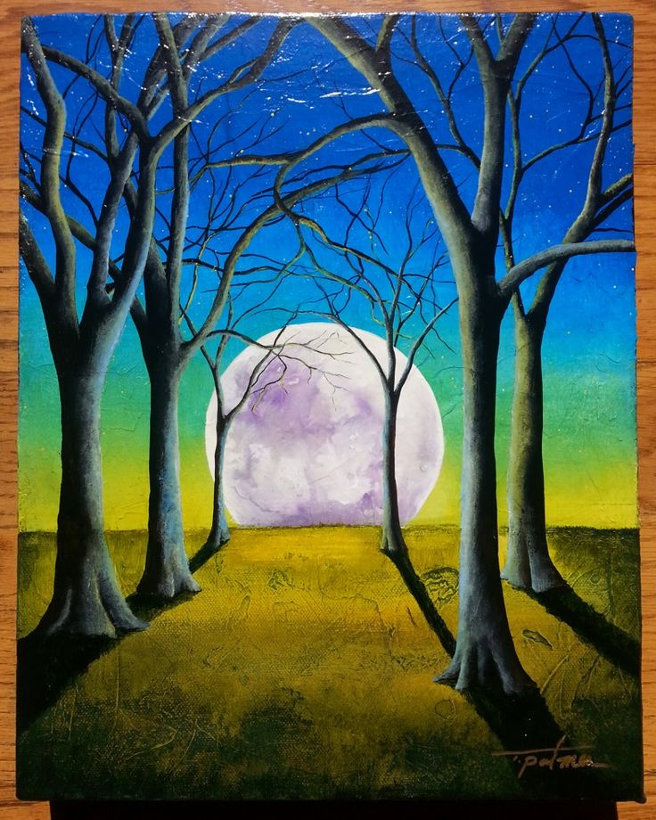 Tina Palmer New Moon Original Painting Moon Painting