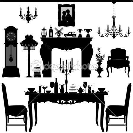 yemek alan geleneksel eski antika mobilya iç tasarım — Stok İllüstrasyon #6646215