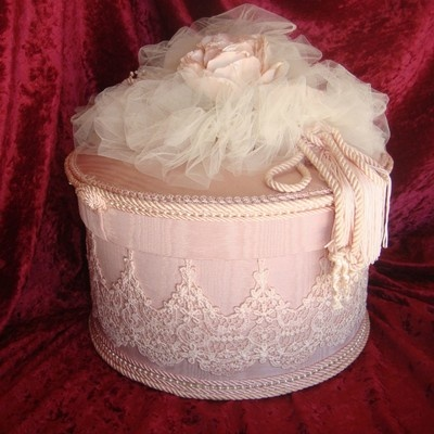 Hat Box Pink and White Lace Victorian Style