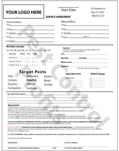 Service Contract Form Free Printable Cleaning Contract Forms