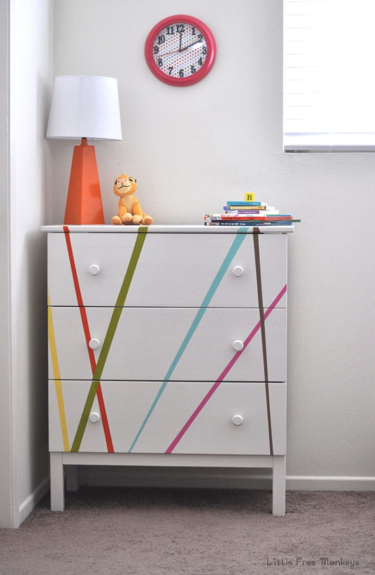Love how this boring Ikea Tarva dresser turned into a beautiful, bright and whimsey kids dresser!