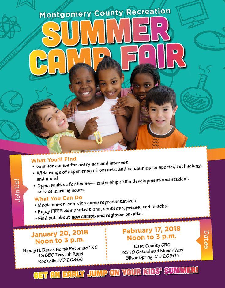 Summer Camps Fair Jan. 18 at North Potomac Community Center and Feb. 17 at East County.