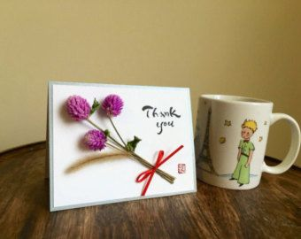 Hand made dry flower card / Hand-lettered Korean-English Calligraphy Card / Greeting card / Globe amaranth bouquet / Happy day / thank you - Edit Listing - Etsy
