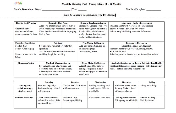 Babies lesson plan example...We should design something similar that lays out all the developmental categories so we make sure to hit them all.