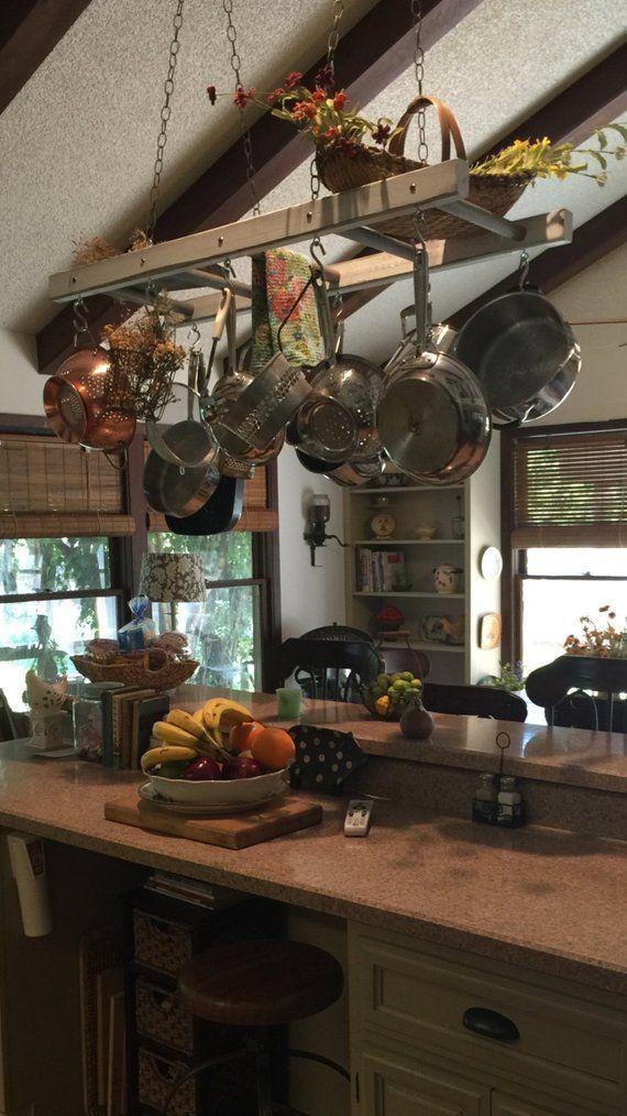 farmhouse ladder pot rack gray wash distressed kitchen island pot rh pinterest com
