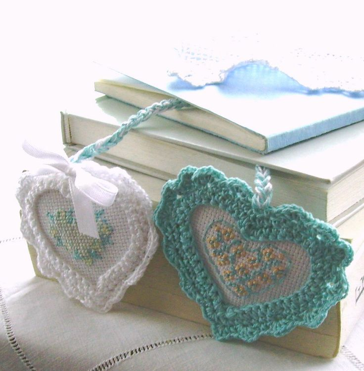 Crochet, embroidered hearts