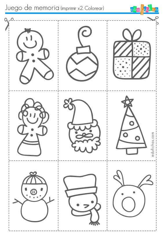 Ficha infantil con juego de memoria de Navidad para imprimir. Descarga este juego de fichas de memoria con dibujos navideños. Juego de memoria para imprimir
