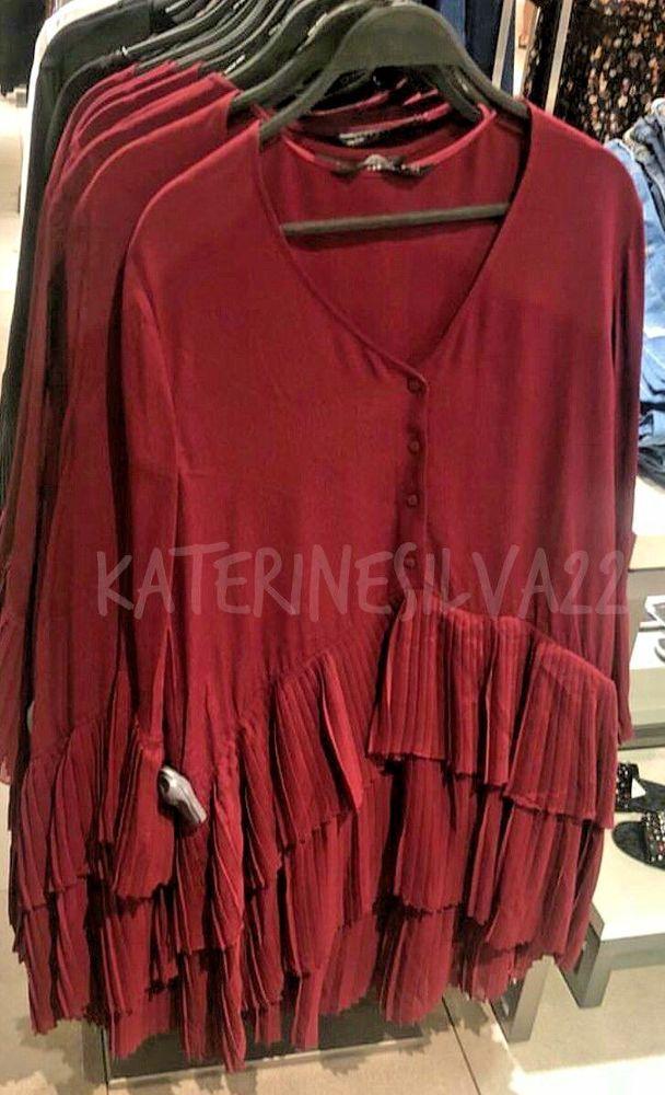 ee3ae2744fa Zara neue Frau ss18 Burgund kontrastierende Plissierte Bluse REF  2731 243   kleider  mode  trend  frau  dame  geschenkideen