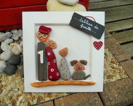 Un tableau représentant une petite famille et le petit chien réalisé en bois peint à l'acrylique, brique de mer avec un bois flotté collé. dimensions: 20 cm x 20 cm - 16634092