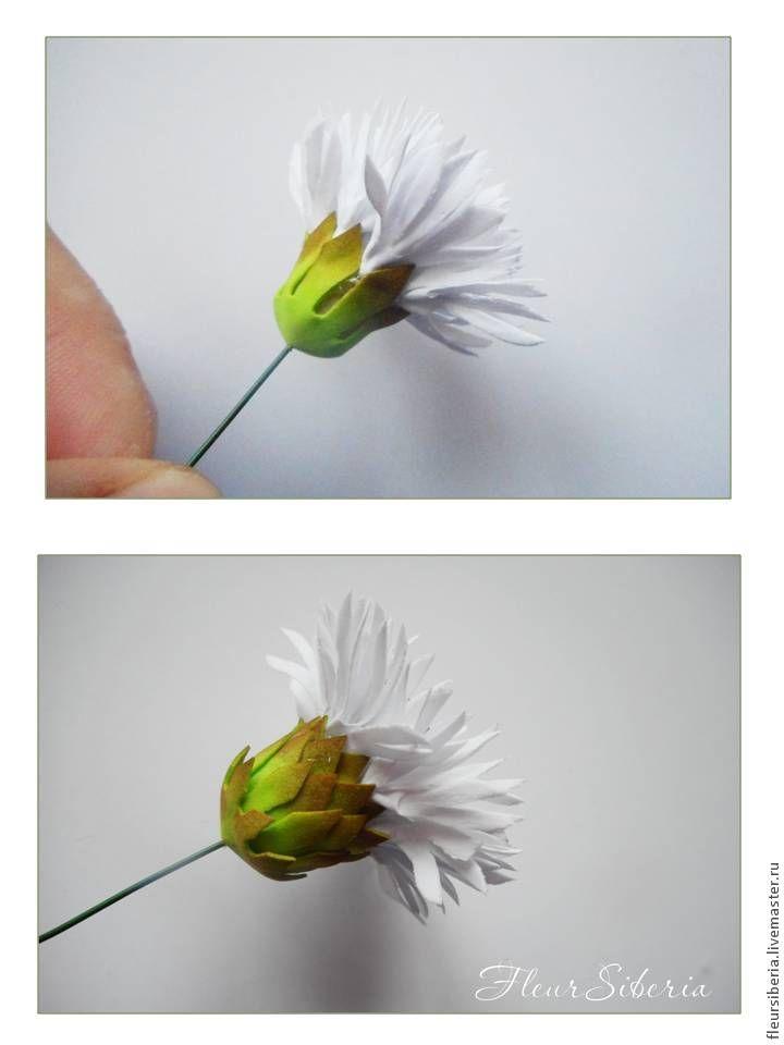 Материалы: фоамиран зелёного и белого цветов толщиной 0,5 мм; ножницы; дырокол ромашка диаметром 4 см; утюг; сухая пастель коричневого цвета; свеча; горячий клей пистолет; тычинки; проволока №20. Из тонкого белого фоамирана вырезаем полоску длинной 20 см и шириной 1,5 см. Если вы делаете цветок из фоамирана иранского (толщиной 1 мм), то полоска до…