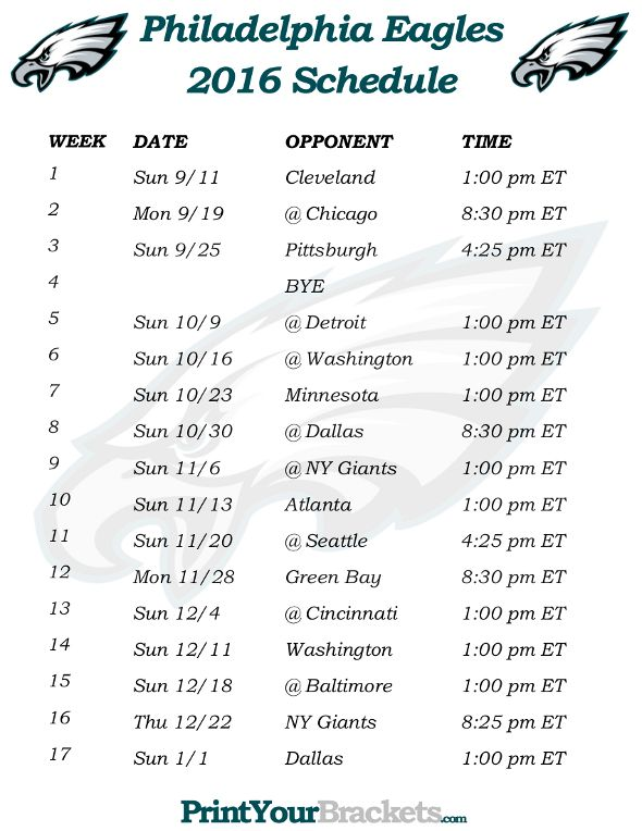 Printable Philadelphia Eagles Schedule - 2016 Football Season