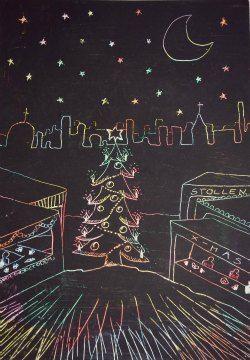 Kratzbild Weihnachtsmarkt