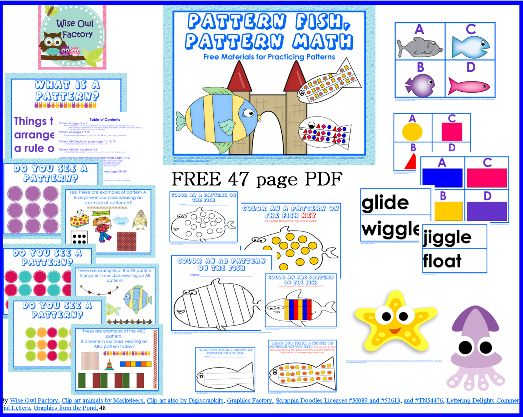 Free Pattern Fish, Pattern Math 47 Page PDF, Book 297 from The Wise Owl Factory Book a Day