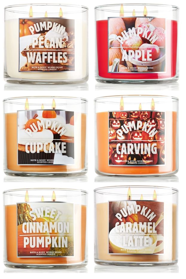 I MUST buy every product in every pumpkin scent they make lol. Bath & Body Works Fall 2013 candles!  #pumpkin #candles #fall #autumn