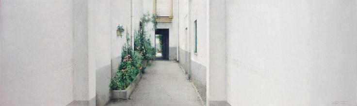 entrada al patio  30 x 100 cm.  oli sobre fusta