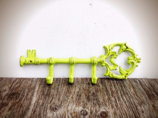 BOLD shabby chic chartreuse lime green ORNATE skeleton KEY wall hook // towel coat hook // hand painted cast iron // victorian cottage chic