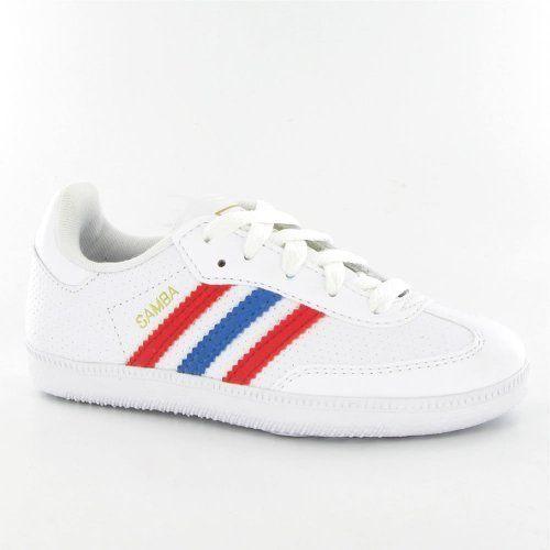 Adidas Samba White Navy Suede Juniors Trainers adidas. $59.48