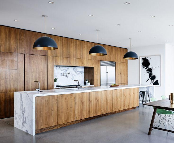 wood marble kitchen modern desert home black pendant lights - Modern Kitchen