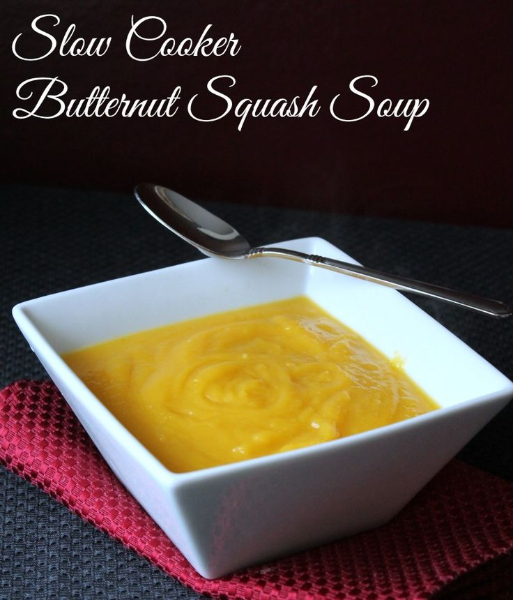 Slow Cooker Butternut Squash Soup. So easy to make. No chopping of the raw squash required. Throw it in whole! 200 calories and 5 weight watchers points plus