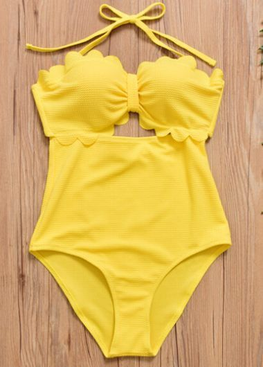 Yellow Scalloped Hem Halter Neck One Piece Swimwear on sale only US$27.23 now, buy cheap Yellow Scalloped Hem Halter Neck One Piece Swimwear at liligal.com