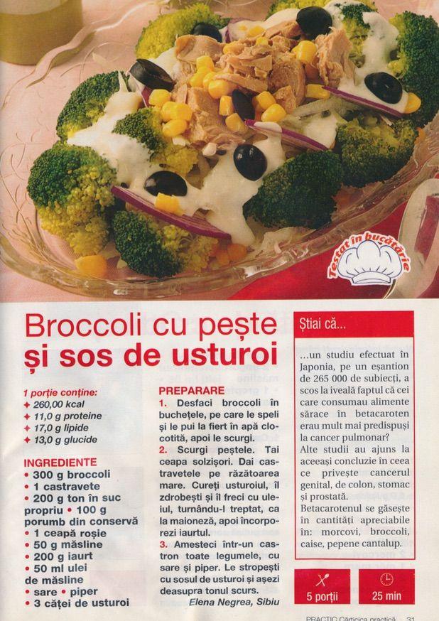 Broccoli cu peste si sos de usturoi