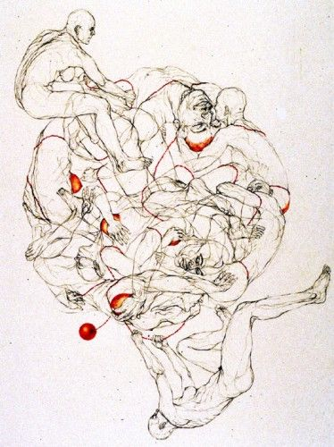 Sol Kjøk, From the STRING OF BEADS series, Graphite and Colored Pencil on Paper, 2003-2006