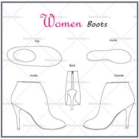 Women's Boots Fashion Flat Template