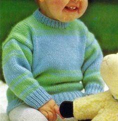 Gestreifter #Babypullover, kostenlose #Anleitung zum #stricken. Ein Gestreifter Babypullover der aus mitteldicker Babywolle gestrickt, die zu 85 % aus Acryl besteht und leicht zu waschen ist. http://www.handarbeitszirkel.de/gestreifter-babypullover/