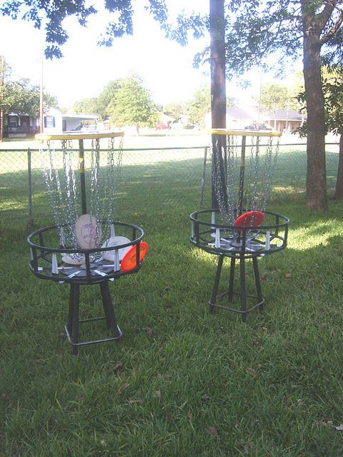 Josh's Frisbee Golf Baskets made from mostly recycled items