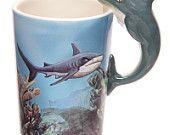 Sealife Design Mug Shark Shaped Handle Presen Gift Ideas, Ceramic Coffee Tea Cup