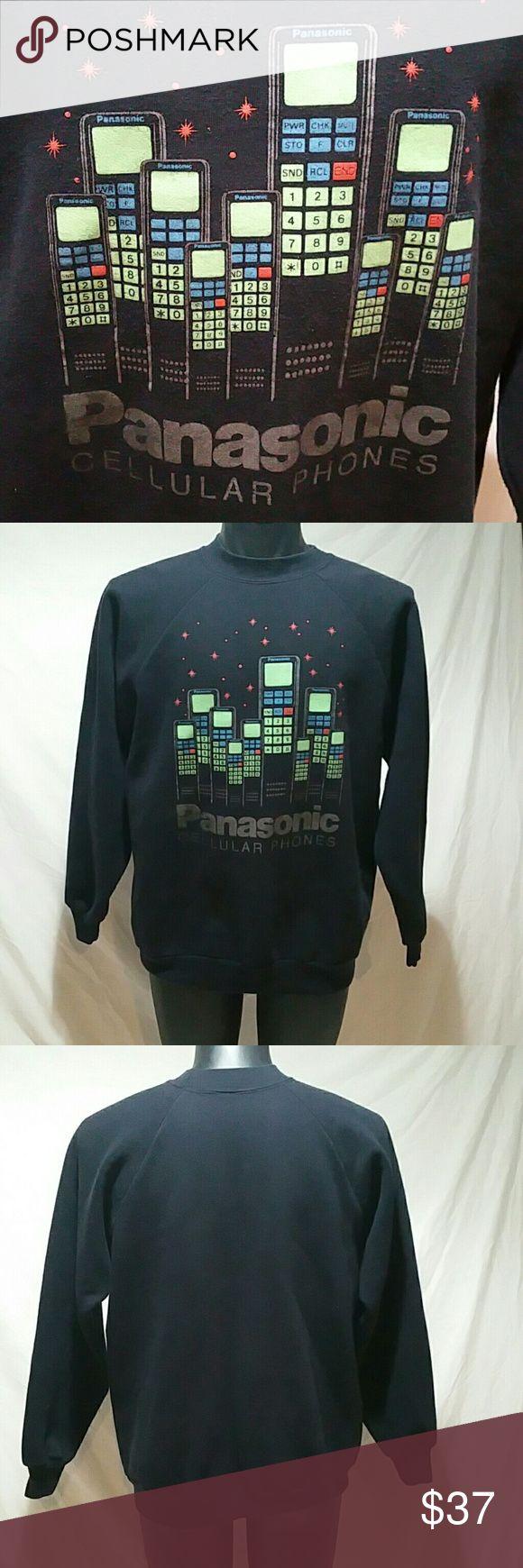 Shirt design measurements - Vintage Celluar Phone Panasonic Promo Sweat Shirt