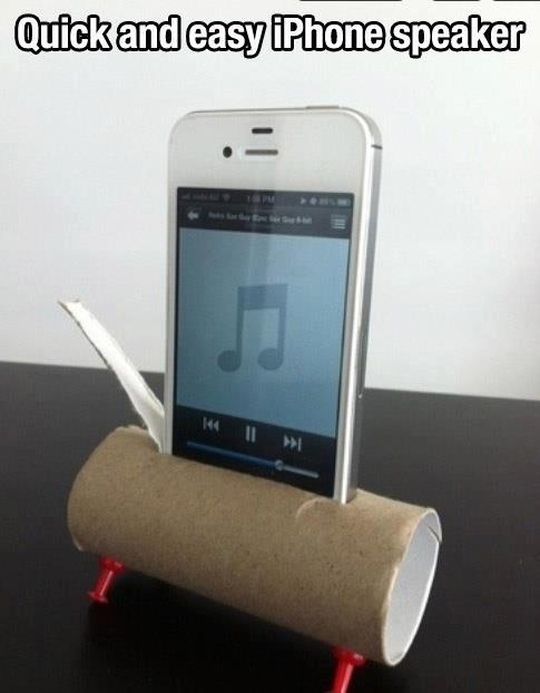 phone speaker from a toilet paper roll: Toilets Paper Tube, Make Life Easier, Idea, Iphone Speakers, Toilets Paper Rolls, Life Changing, Lifehacks, Movie Quotes, Life Hacks