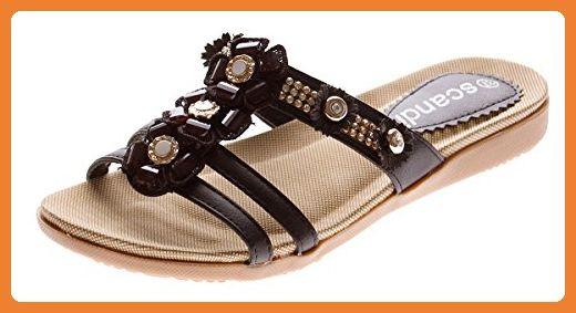 Damen Sandalette Riemen Schuhe Schwarz Blumen Ziersteine Pantolette Latschen Gr. 39 - Clogs für frauen (*Partner-Link)