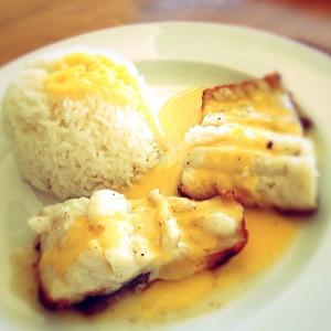 Kingklip fillets, butter/lemon sauce & rice