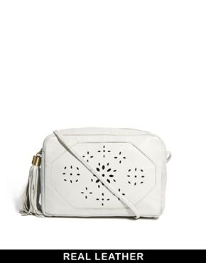 Leather Across Body Bag With Floral Cutout Detail