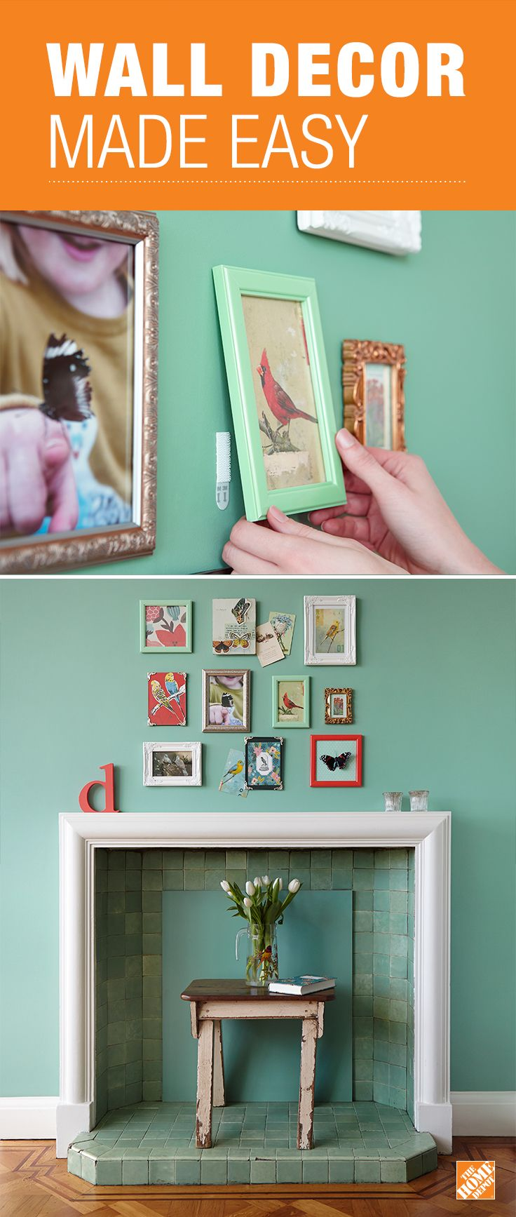 hang pictures without holes in wall