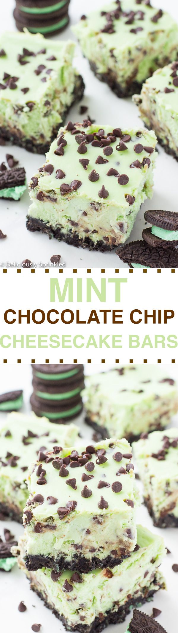 Mint Chocolate Chip Cheesecake Bars