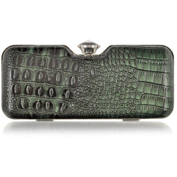 Julia Cocco' Handbags Mini Animal Print Clutch w/Crystal (61 CHF) ❤ liked on Polyvore featuring bags, handbags, clutches, purses, clutches / wallets / purses, green, evening purses, hand bags, special occasion clutches and mini handbags