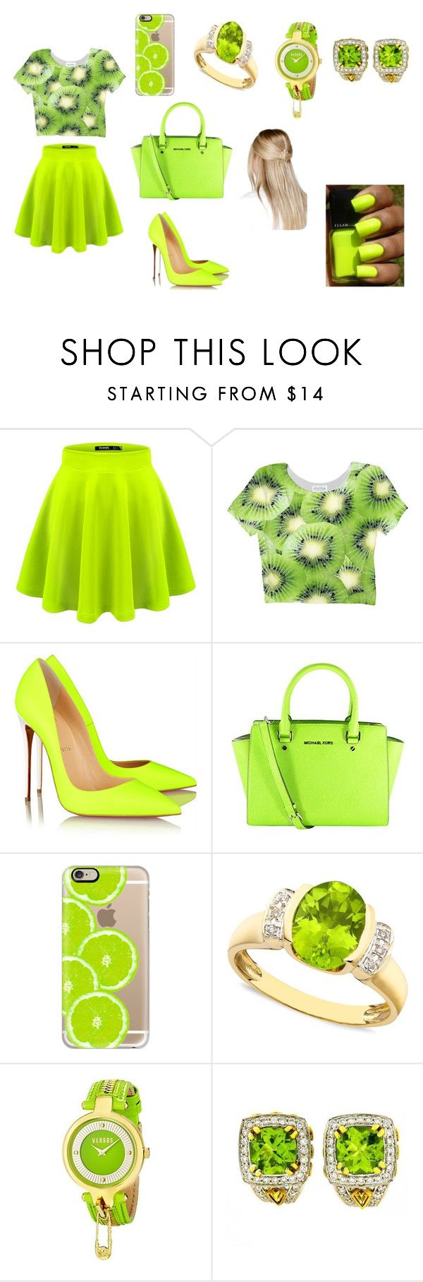 """""""yu"""" by aiste-mini on Polyvore featuring Christian Louboutin, Michael Kors, Casetify, Versus, Charles Krypell and Boohoo"""