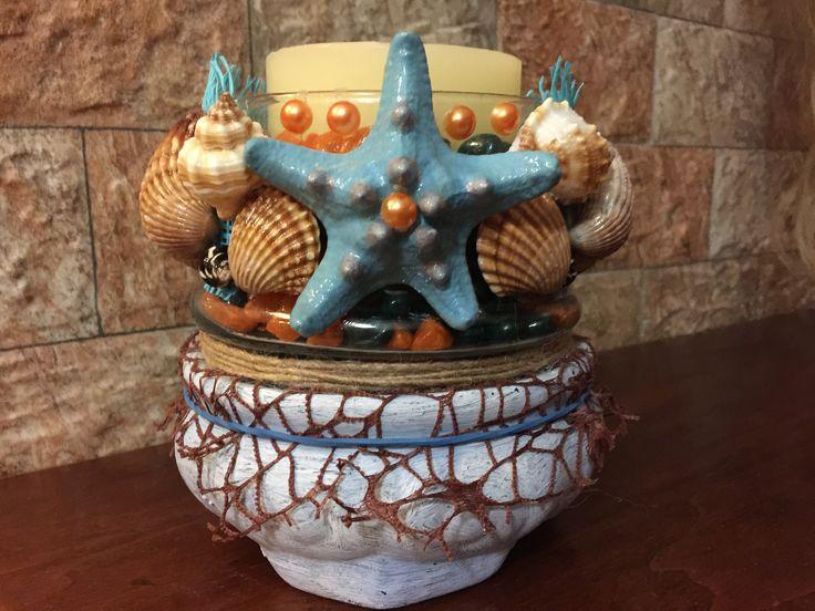 Моя работа- подсвечник на керамической подставке
