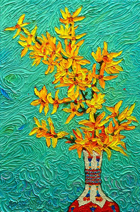 Forsythia Vibration Modern Impressionist Flower Art Palette Knife Oil Painting By Ana Maria Edulescu - Original palette knife oil painting on stretched canvas, sizes : width - 16 inches, height - 24 inches, depth - 1 inch ~ prints starting @ $22 on Fine Art America