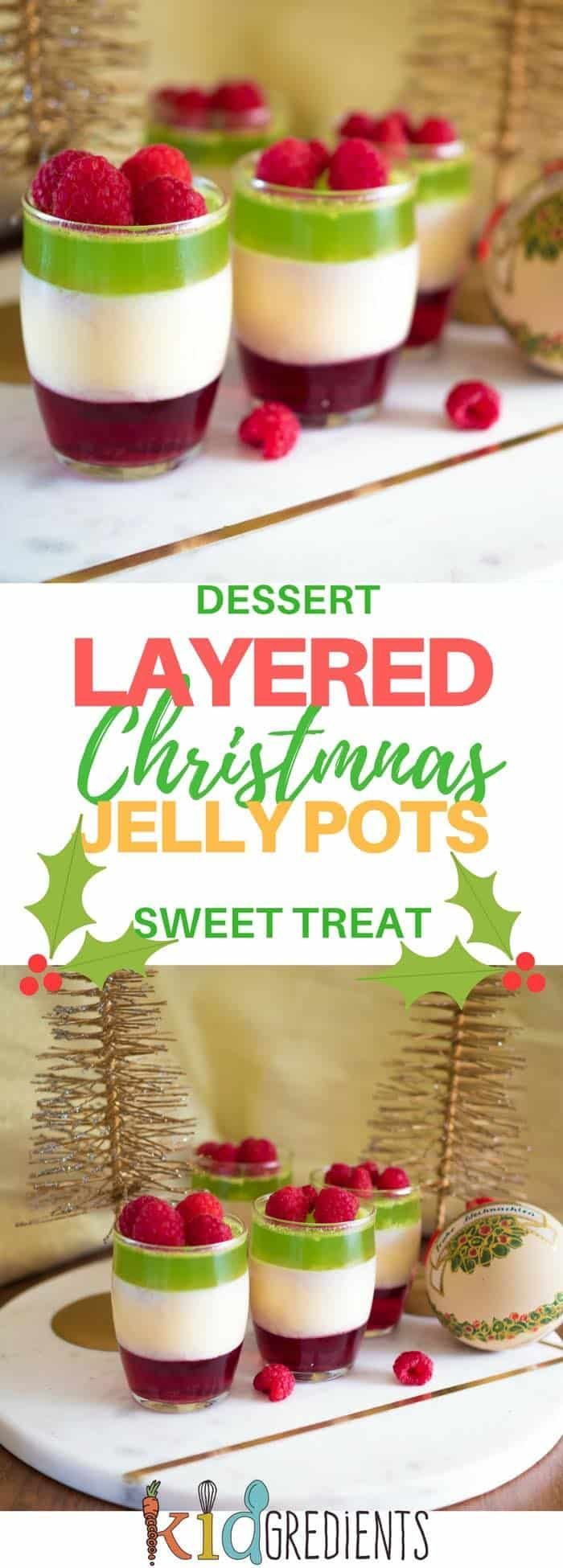 Christmas layered jelly pots to make your Christmas desserts just a little prettier! Super yummy and easy to make. Kid friendly and oh so sweet! #kidsfood #dessert #sweettreat #jelly #christmas